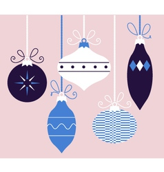 Colorful retro Christmas balls blue collection vector image vector image