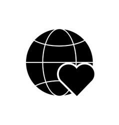 earth globe diagram and heart cartoon icon vector image
