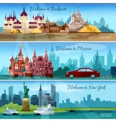Famous Cities Banners vector image vector image