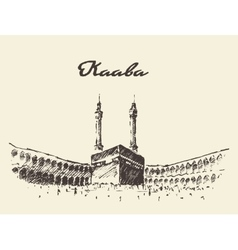 Holy kaaba mecca saudi arabia muslim drawn vector