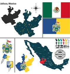 Map of Jalisco vector image vector image