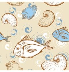 marine seamless pattern vector image