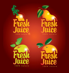 set of fresh juices with pictures of fruit vector image vector image