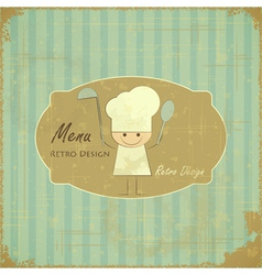 Vintage Menu Card Design with chef vector image vector image