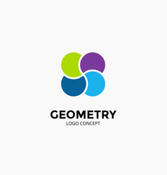 4 circles logo template modern abstract vector