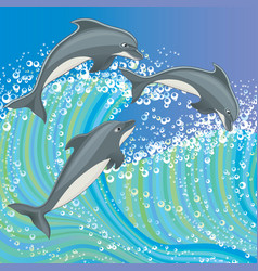 A group dolphins vector