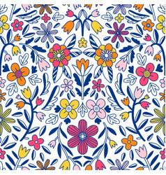abstract floral symmetrical seamless pattern vector image