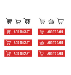 Add to cart button set shopping trolley signs vector