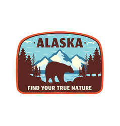 Alaska badge design mountain adventure patch vector