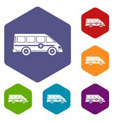 ambulance emergency van icons set hexagon vector image