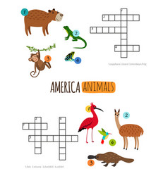america animals mini crosswords for preschool kids vector image