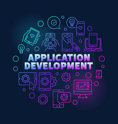 application development round line colorful vector image