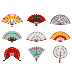 asian hand fans paper folding hand fans chinese vector image
