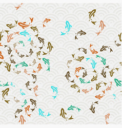 Asian koi fish pond seamless pattern art vector