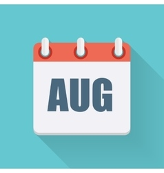 August Dates Flat Icon with Long Shadow vector