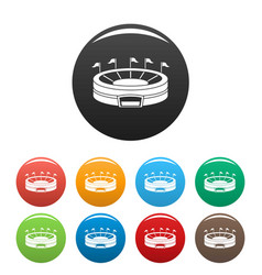 Baseball arena icons set color vector