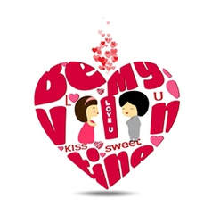 Be valentines typography in heart vector image