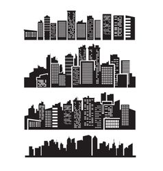 big city icons vector image vector image