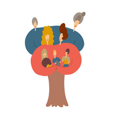 Big family gathering together isolated cartoon of vector