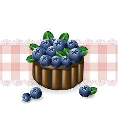 blueberry cake on a vintage pattern vector image