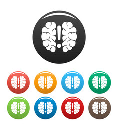 brain solution icons set color vector image