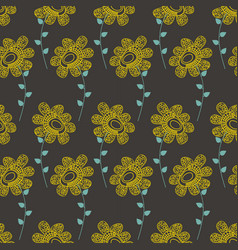 bright floral seamless pattern over dark vector image