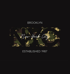 Brooklyn t-shirt design with camouflage texture vector