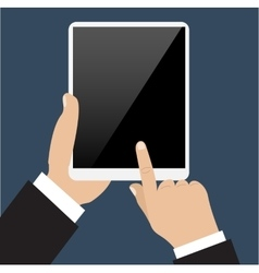 Business man holds and manages tablet computer vector image