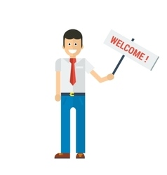 Businessman holding welcome sign in hand vector