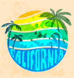 california beach typography graphics t-shirt vector image