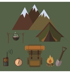Camping icons elements vector