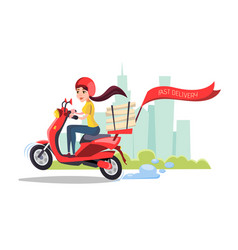 Cartoon delivery girl riding scooter vector