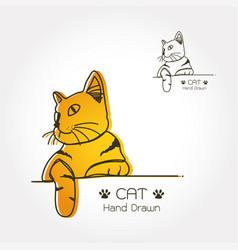 cat logo line art vector image