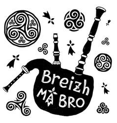 Celtic symbols and biniou breton bigpipe vector