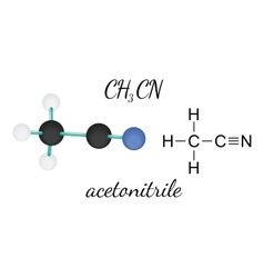 CH3CN acetonitrile molecule vector image
