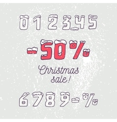 Christmas sale collection Hand drawn numbers and vector image
