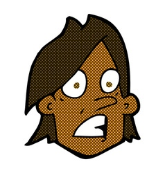 Comic cartoon frightened face vector