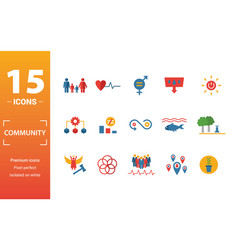 Community icon set include creative elements vector