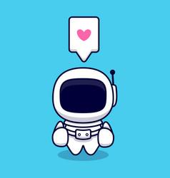 Cute astronaut thumb up cartoon icon flat vector