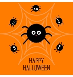 Cute cartoon fluffy spider set on the web vector