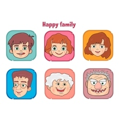 Cute happy family members faces vector image