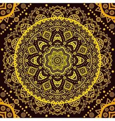 Decorative golden round pattern frame on black vector