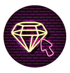 diamond arrow neon video game wall vector image