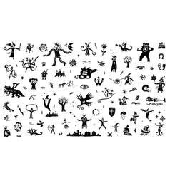 Fairy tale icon set background design elements vector