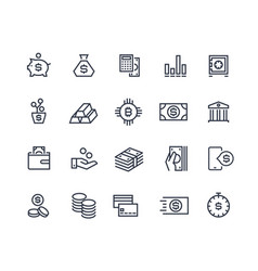 Finance line icons money business account vector