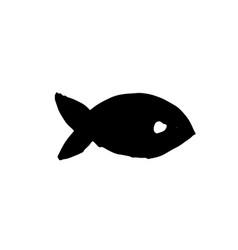 fish icon grunge ink vector image