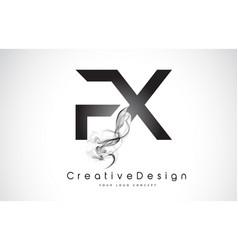 Fx letter logo design with black smoke vector