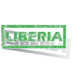Green outlined Liberia stamp vector