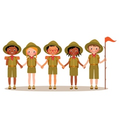 Group of children boys and girls scouts vector image