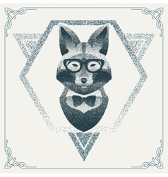 Halftone hipster fox with black Dots vector image